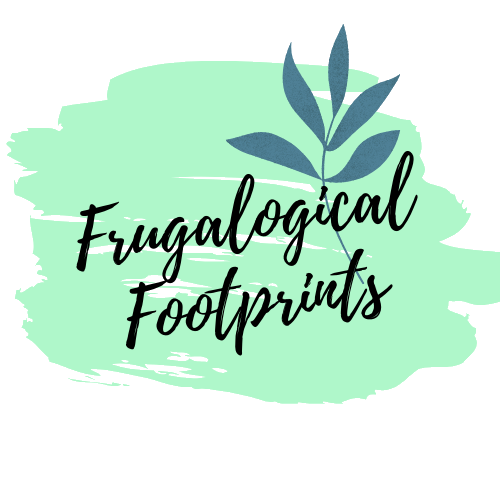 Frugalogical footprints logo on teal background with blue leaf
